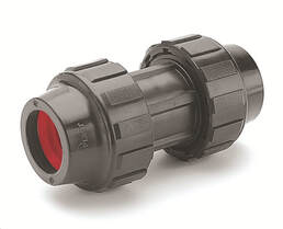 Floplast compression fitting for HDPE pipe
